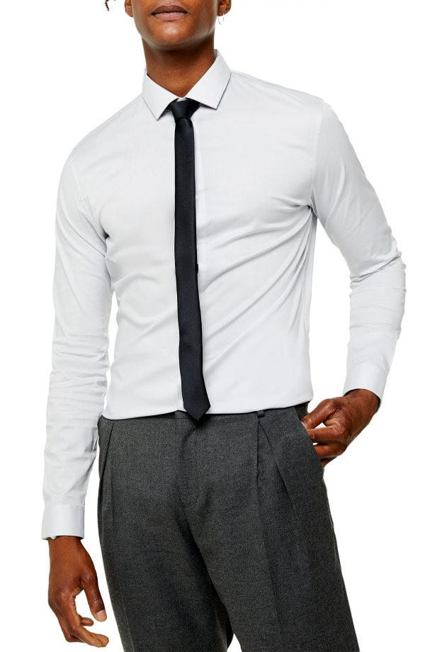 Men's Topman Slim Fit Stretch Solid Button-Up Shirt, Size X-Small - Grey