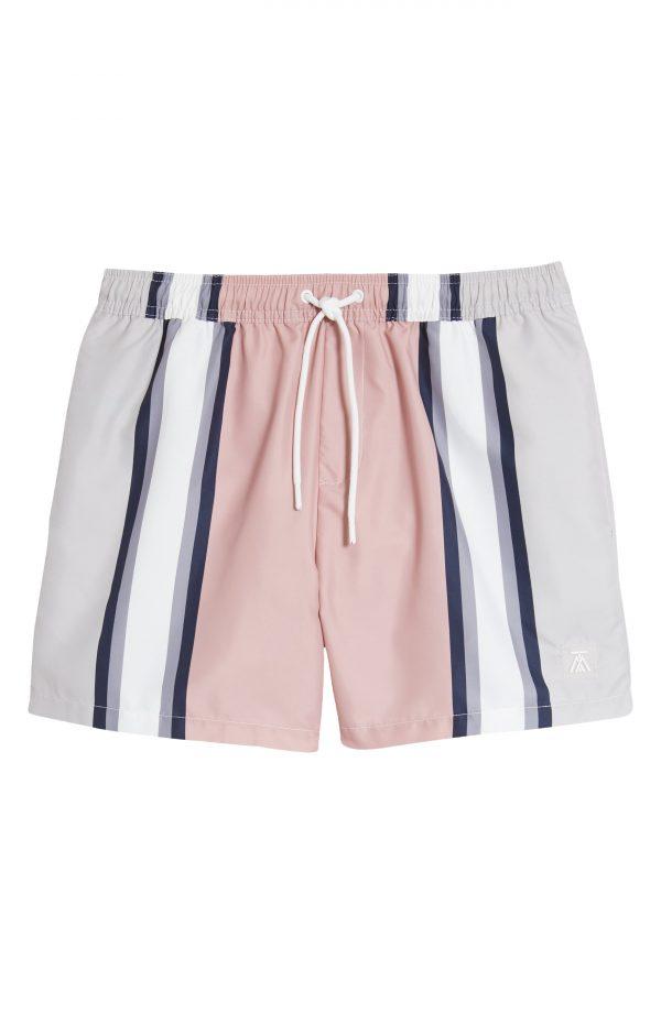 Men's Topman Smart Stripe Swim Trunks, Size Large - Pink