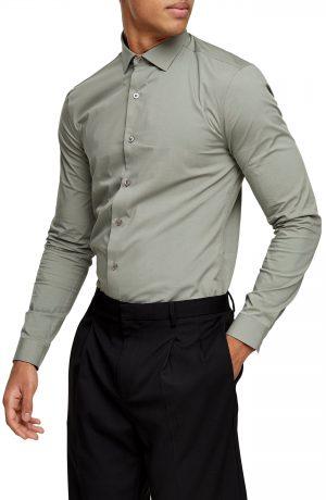 Men's Topman Stretch Button-Up Shirt, Size Large - Green