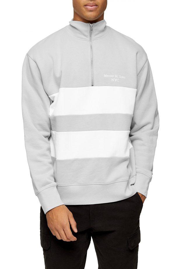 Men's Topman Stripe Quarter Zip Sweatshirt, Size Medium - Grey