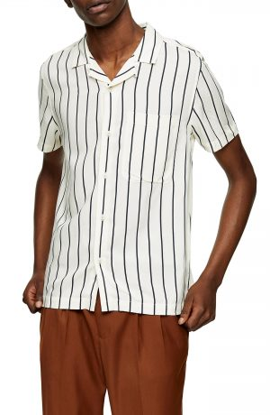 Men's Topman Stripe Short Sleeve Button-Up Camp Shirt, Size Medium - Ivory