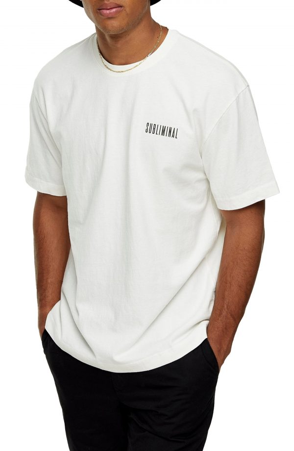 Men's Topman Subliminal Graphic Tee, Size X-Small - Ivory