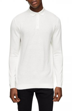 Men's Topman Texture Block Polo Sweater, Size Small - Ivory