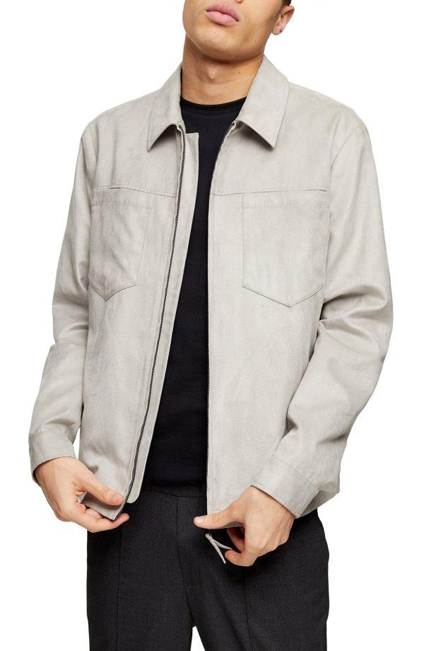 Men's Topman Tommy Classic Fit Zip Shirt Jacket, Size Large - Grey