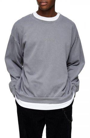 Men's Topman Washed Berlin Classic Fit Sweatshirt, Size Medium - Grey
