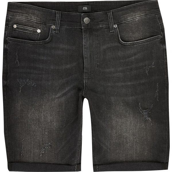 River Island Mens Big and Tall black skinny fit denim shorts