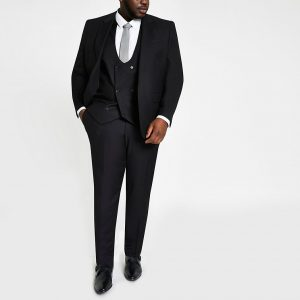 River Island Mens Big and Tall black skinny fit suit trousers