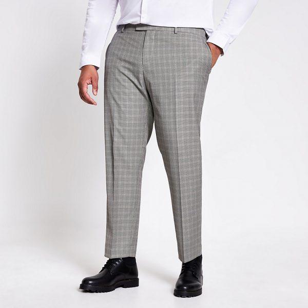 River Island Mens Big and Tall check skinny fit suit trousers