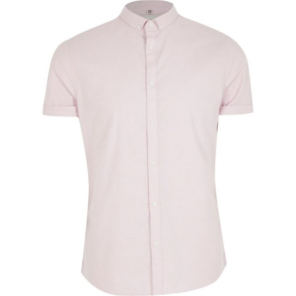 River Island Mens Big and Tall light pink slim fit Oxford shirt