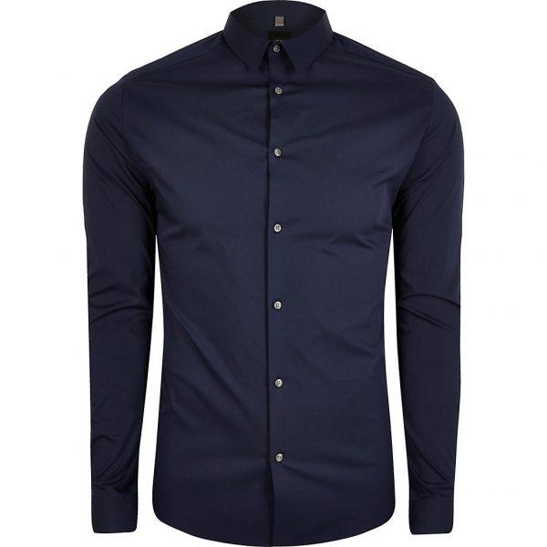 River Island Mens Big and Tall navy long sleeve slim fit shirt