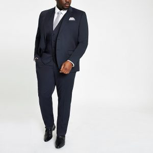 River Island Mens Big and Tall navy suit trousers