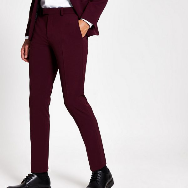 River Island Mens Dark red stretch skinny suit trousers