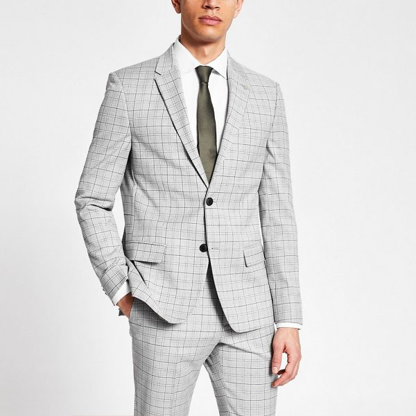 River Island Mens Grey slim fit single breasted suit jacket