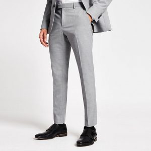 River Island Mens Grey textured skinny suit trousers
