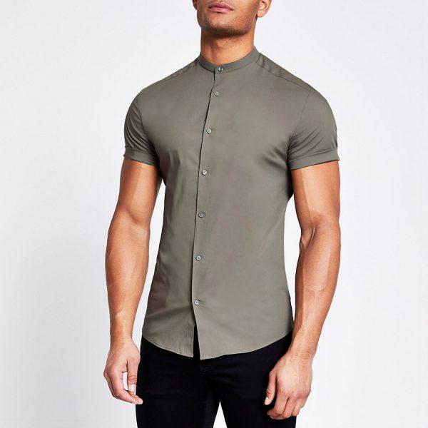 River Island Mens Khaki grandad collar muscle fit shirt