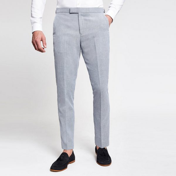 River Island Mens Light blue skinny suit trousers