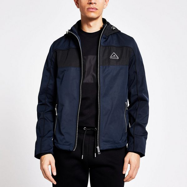 River Island Mens MCMLX navy colour block hooded jacket