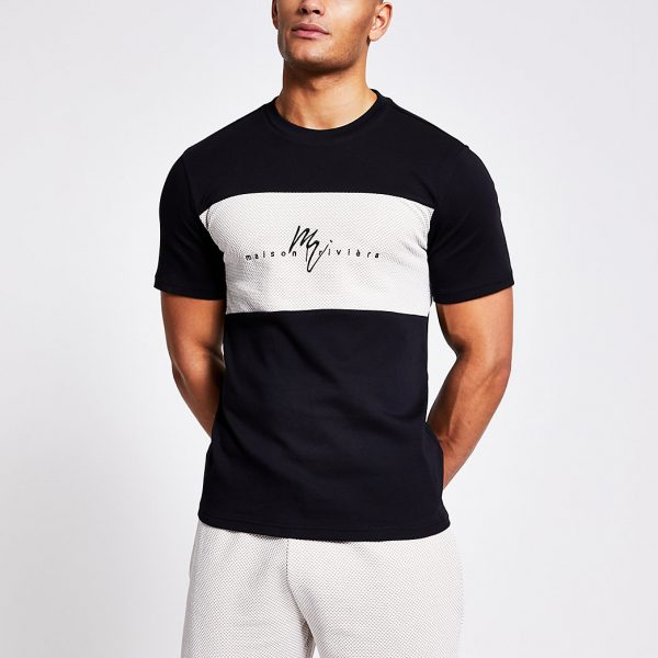 River Island Mens Maison Riviera black textured block T-shirt