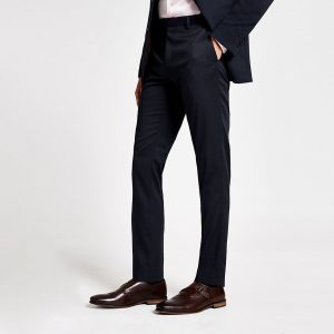 River Island Mens Navy stretch skinny suit trousers