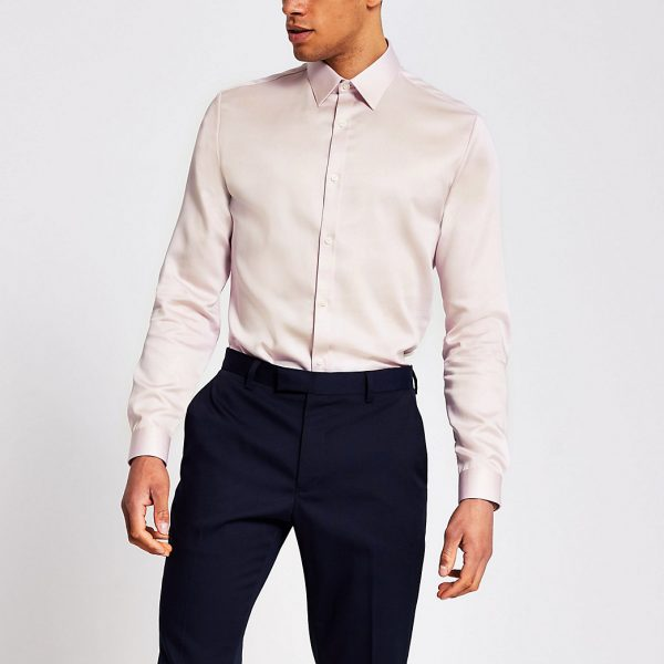 River Island Mens Pink slim fit Egyptian cotton shirt