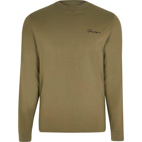 River Island Mens Prolific green long sleeve t-shirt