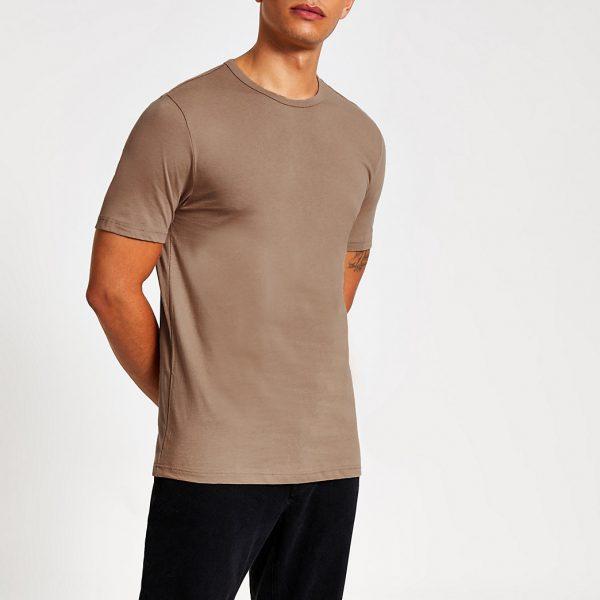 River Island Mens Stone slim fit crew neck T-shirt