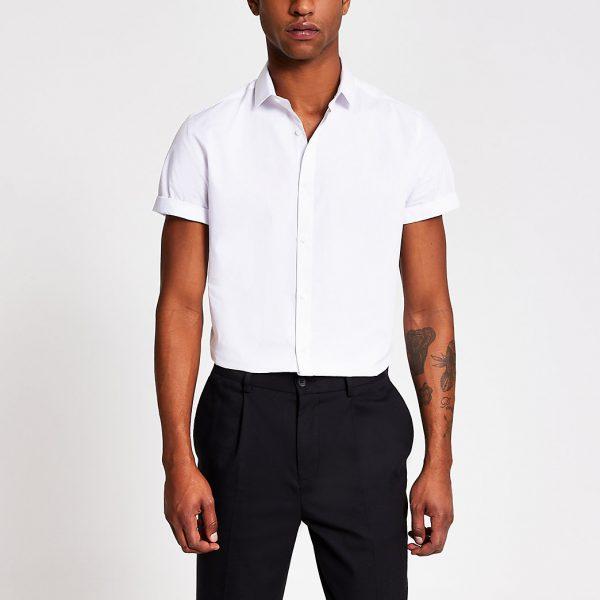 River Island Mens White short sleeve slim fit shirt