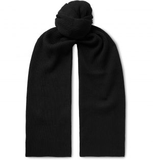 Saturdays NYC - 1x1 Ribbed Cotton and Cashmere-Blend Scarf - Men - Black