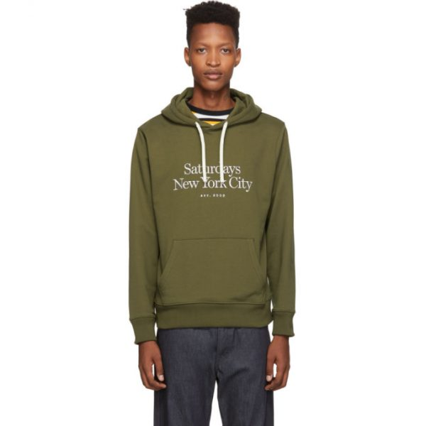 Saturdays NYC Green Embroidered Miller Standard Ditch Hoodie