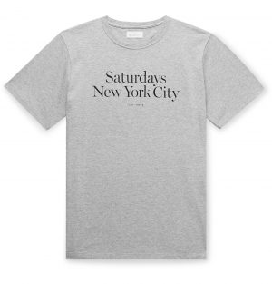 Saturdays NYC - Miller Logo-Print Mélange Cotton-Jersey T-Shirt - Men - Gray