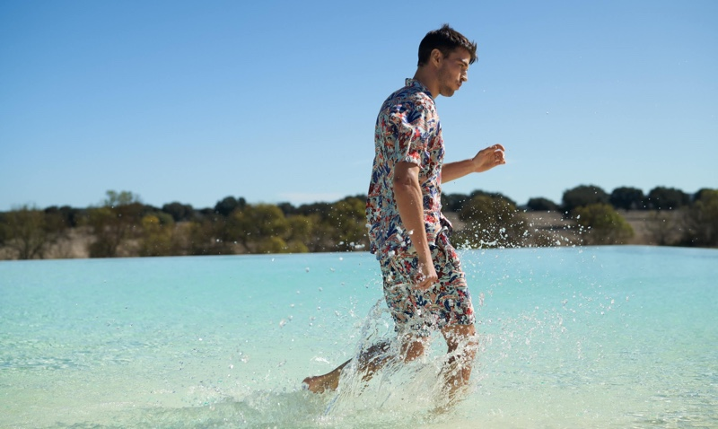Sporting coordinated style, Arran Sly wears fashions from Scotch & Soda's Keoni collection.