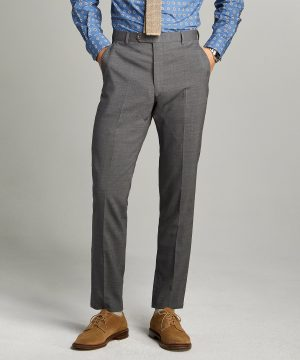 Sutton Tropical Wool Suit Trouser in Dark Charcoal