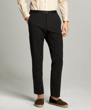 Sutton Tuxedo Pant in Italian Black Seersucker