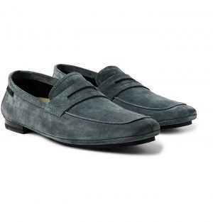 TOM FORD - Berrick Suede Penny Loafers - Men - Blue