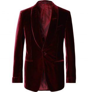 TOM FORD - Burgundy Shelton Slim-Fit Shawl-Collar Velvet Tuxedo Jacket - Men - Burgundy