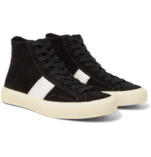 TOM FORD - Cambridge Leather-Trimmed Suede High-Top Sneakers - Men - Black