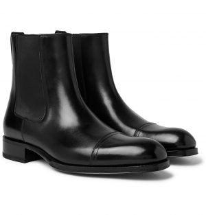 TOM FORD - Edgar Cap-Toe Polished-Leather Chelsea Boots - Men - Black
