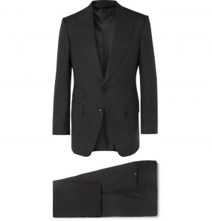 TOM FORD - Grey Atticus Slim-Fit Pinstriped Wool and Silk-Blend Suit - Men - Black