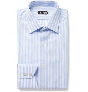 TOM FORD - Grey Slim-Fit Striped Cotton-Poplin Shirt - Men - Blue