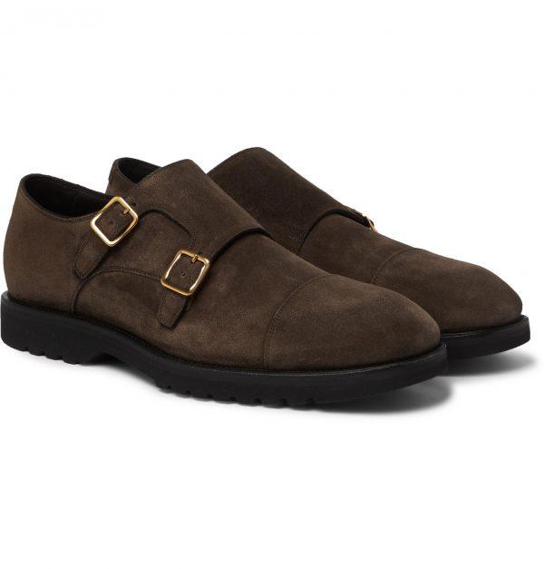 TOM FORD - Kensington Suede Monk-Strap Shoes - Men - Brown