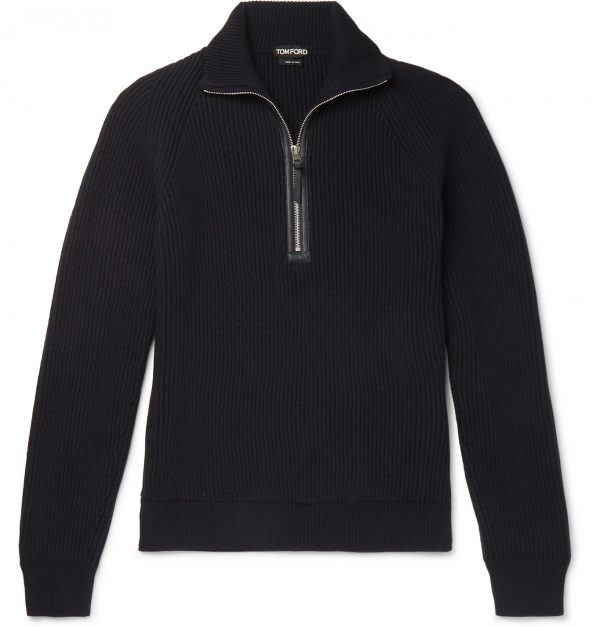 TOM FORD - Leather-Trimmed Ribbed Merino Wool and Cashmere-Blend Half-Zip Sweater - Men - Blue