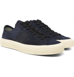 TOM FORD - Leather-Trimmed Suede Sneakers - Men - Blue