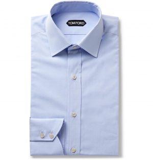 TOM FORD - Light-Blue Slim-Fit Cotton-Poplin Shirt - Men - Blue