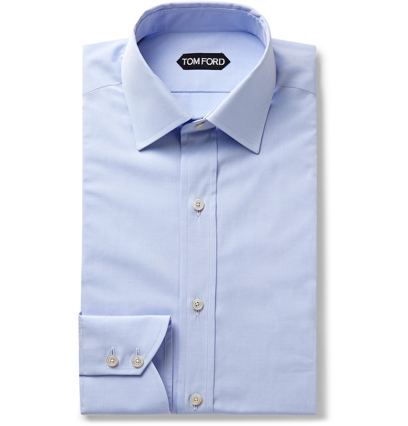 TOM FORD - Light-Blue Slim-Fit Cotton-Poplin Shirt - Men - Blue