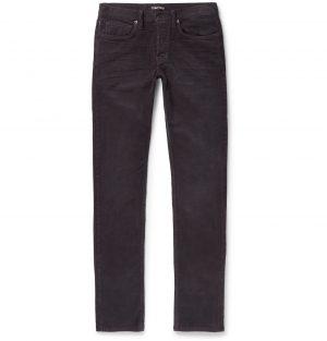TOM FORD - Navy Slim-Fit Cotton-Blend Corduroy Trousers - Men - Gray