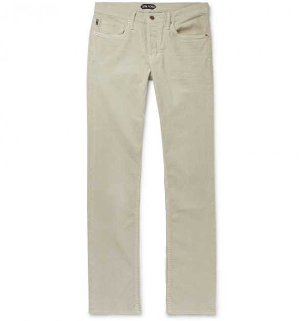 TOM FORD - Navy Slim-Fit Cotton-Blend Corduroy Trousers - Men - Neutrals