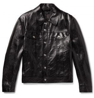 TOM FORD - Polished-Leather Trucker Jacket - Men - Black