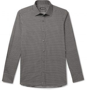 TOM FORD - Printed Cotton and Lyocell-Blend Shirt - Men - Black