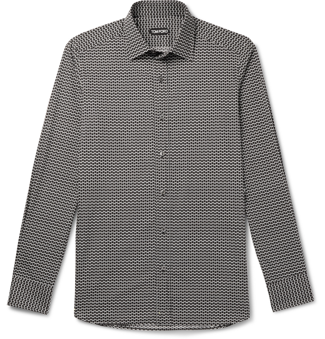 TOM FORD - Printed Cotton and Lyocell-Blend Shirt - Men - Black