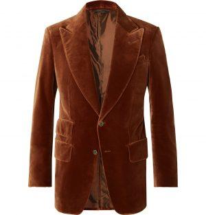 TOM FORD - Rust Atticus Slim-Fit Cotton-Velvet Blazer - Men - Brown